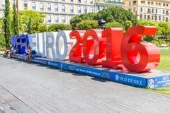 Mening van de ventilatorstreek voor Eurocup 2016 in de Plaats Massena, Nice, Frankrijk Royalty-vrije Stock Afbeeldingen