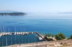 Mening van de vesting in Kerkyra, Korfu, Griekenland stock afbeelding