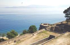 Mening van de vesting in Kerkyra, Korfu, Griekenland stock foto's