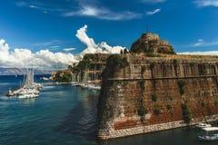 Mening van de vesting Palaio in Kerkyra - Korfu - Griekenland royalty-vrije stock foto's
