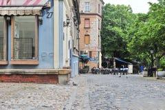 Mening van de voetstraat van Skadarska in centrum van Belgrado Royalty-vrije Stock Foto's