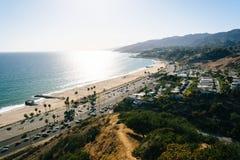 Mening van de Vreedzame Oceaan in Vreedzame Palissaden, Californië Royalty-vrije Stock Afbeeldingen