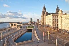 Mening van de waterkant van Liverpool Stock Afbeelding