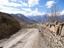 Mening van de weg samen met de steenmuur Royalty-vrije Stock Foto's