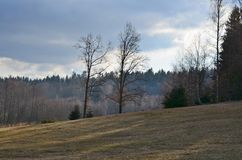 Mening van de winterlandschap, Zuid-Bohemen Royalty-vrije Stock Fotografie