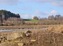 Mening van de winterlandschap, Zuid-Bohemen Royalty-vrije Stock Afbeeldingen