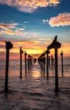 Mening van de zonsondergang de Oranje Hemel stock fotografie