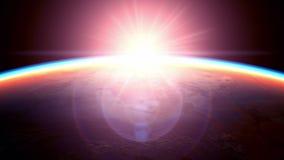 Mening van de zonsopgang van ruimte, mooie 3D animatie vector illustratie