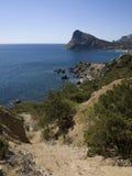 Mening van de Zwarte Zee en het strand Royalty-vrije Stock Fotografie