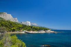 Mening van de Zwarte Zee en Krimbergen Royalty-vrije Stock Foto's
