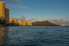 Mening van Diamond Head van Waikiki Stock Foto's