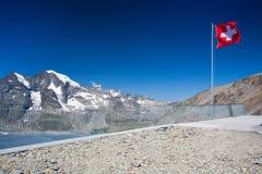 Mening van Diavolezza aan de bergen en de gletsjers Royalty-vrije Stock Afbeeldingen