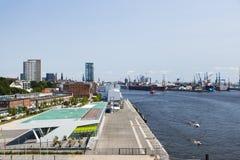 Mening van Dockland, Hamburg Stock Foto