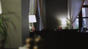 Mening van donkere ruimte met verscheidene lampen De groene installatie groeit in pot Daglicht stock footage
