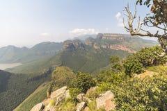 Mening van Drie Rondavels, Blyde-Riviercanion, Zuid-Afrika Stock Fotografie
