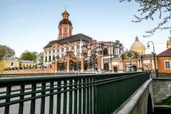 Mening van Drievuldigheidskathedraal van Alexander Nevsky Lavra in St Peter royalty-vrije stock foto