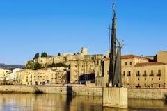 Mening van Ebro Rivier en Tortosa, in Spanje Stock Foto's