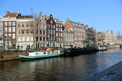 Mening van een brug Amsterdam Stock Foto