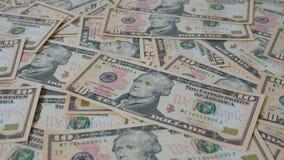 Mening van een groep van 10 dollars wanordelijke rekeningen Stock Fotografie