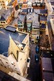 Mening van een kerk en stegen van de het Parkerengarage van de Zuidenstraat royalty-vrije stock fotografie