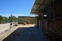 Mening van een manege met paardendozen Stock Foto's