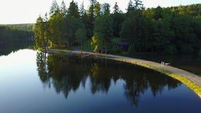 Mening van een meer in Duitsland die hierboven met aardige mening over de bomen vliegen Ebnisee, langzame camerabeweging stock videobeelden