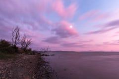 Mening van een meerkust bij zonsondergang, met installaties, bomen, mooie pu Stock Foto's