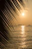 Mening van een mooie tropische zonsondergang over het overzees Stock Foto's