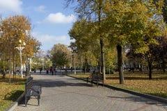 Mening van een park in Krasnodar, Rusland Onder Koppen-klimaatcl Royalty-vrije Stock Foto