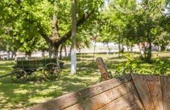 Mening van een park met een deel van een kar in de voorgrond royalty-vrije stock afbeeldingen