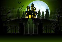 Mening van een spookhuis met een achtergrond van volle maan en groen licht stock illustratie