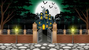 Mening van een spookhuis met een achtergrond van volle maan en groen licht royalty-vrije illustratie