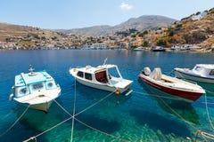 Mening van een Symi-eiland, Dodecanese, Griekenland Stock Fotografie