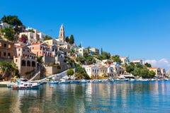 Mening van een Symi-eiland, Dodecanese, Griekenland Stock Afbeeldingen