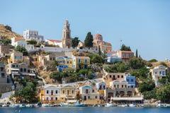 Mening van een Symi-eiland, Dodecanese, Griekenland Stock Foto