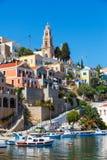 Mening van een Symi-eiland, Dodecanese, Griekenland Royalty-vrije Stock Foto