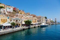 Mening van een Symi-eiland, Dodecanese, Griekenland Stock Afbeelding