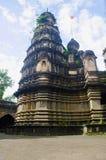 Mening van een tempel, Mahuli Sangam, Satara, Maharashtra stock foto