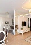 Mening van een woonkamer en de keuken door een interroom m wordt verdeeld dat royalty-vrije stock foto's