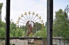 Mening van Ferris Wheel van gymnasium Pripyat Tchernobyl de Oekraïne Royalty-vrije Stock Foto