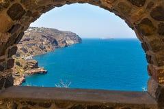 Mening van Fira-stad - Santorini-eiland, Kreta, Griekenland. Stock Foto