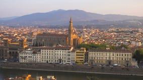 Mening van Florence in de zonsopgangtijd vanuit het gezichtspunt stock videobeelden