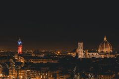 Mening van Florence tijdens de nacht royalty-vrije stock foto's