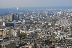 Mening van Franse stad van Parijs met fabrieken en huizen Royalty-vrije Stock Afbeelding