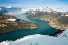 Mening van Frontalpstock aan het Meer Luzerne Stock Foto