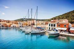 Mening van Gaios-stad, Paxos-eiland, Griekenland Stock Foto's