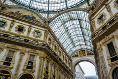 Mening van galleriavittorio Emanuele in Milaan, Italië Stock Foto