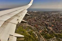 Mening van Gdansk van een vliegtuig, Polen Stock Foto's