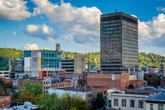 Mening van gebouwen in Asheville van de binnenstad, Noord-Carolina Royalty-vrije Stock Fotografie