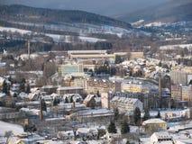Mening van gebouwen in de winter, Stock Foto's